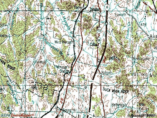 Zip code 37179 topographic map