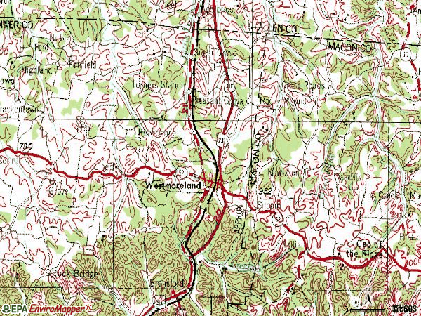 Zip code 37186 topographic map