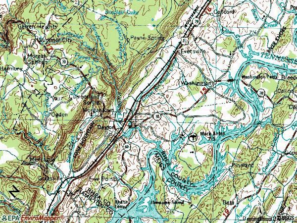 Zip code 37321 topographic map