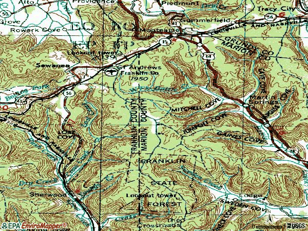 Zip code 37375 topographic map