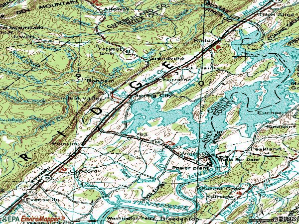 Zip code 37381 topographic map