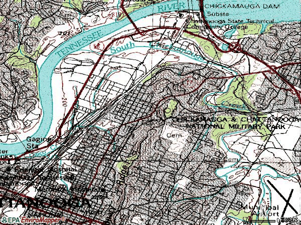 Zip code 37406 topographic map