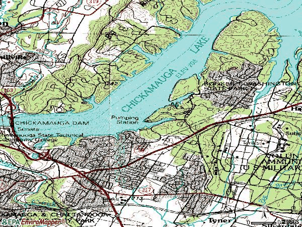 Zip code 37416 topographic map