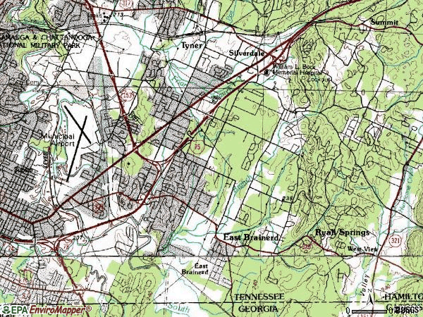 Zip code 37421 topographic map