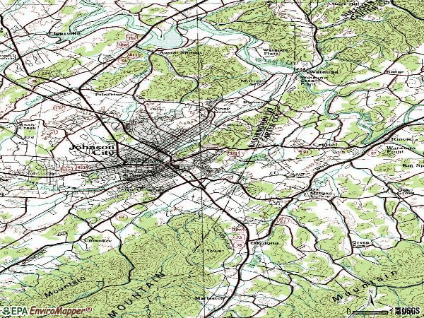 Zip code 37601 topographic map