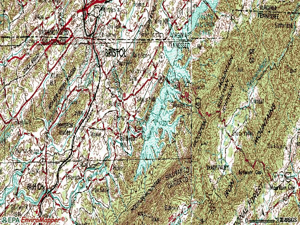 Zip code 37620 topographic map