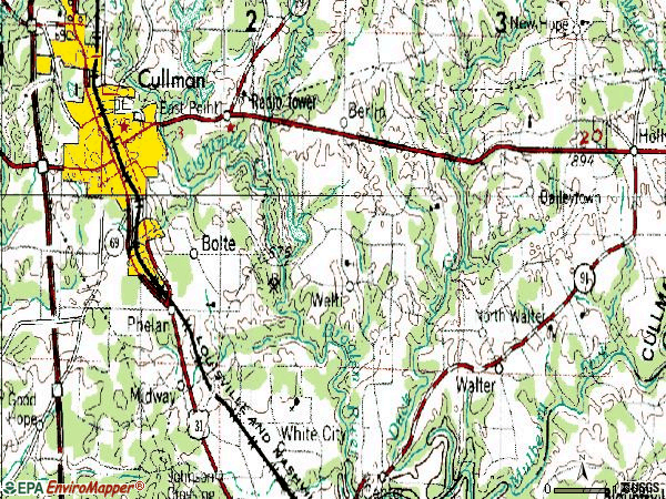 Zip code 35055 topographic map