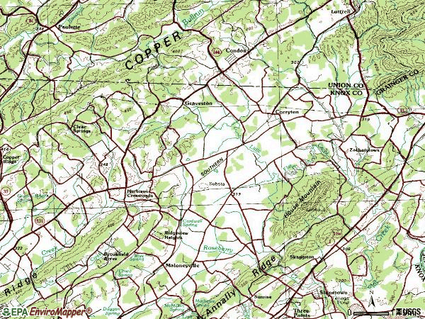 Zip code 37721 topographic map