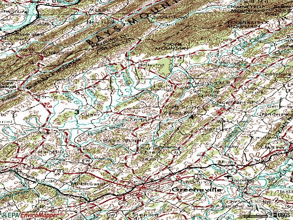 Zip code 37745 topographic map