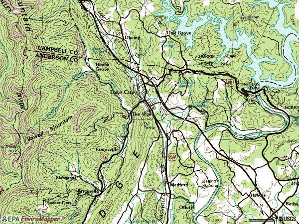 Zip code 37769 topographic map