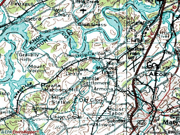 Zip code 37777 topographic map