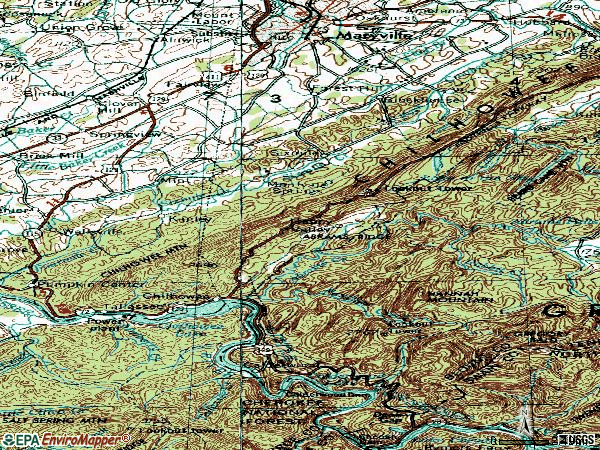 Zip code 37803 topographic map
