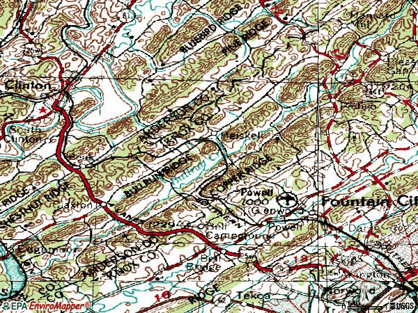 Zip code 37849 topographic map