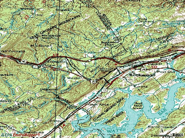 Zip code 37854 topographic map
