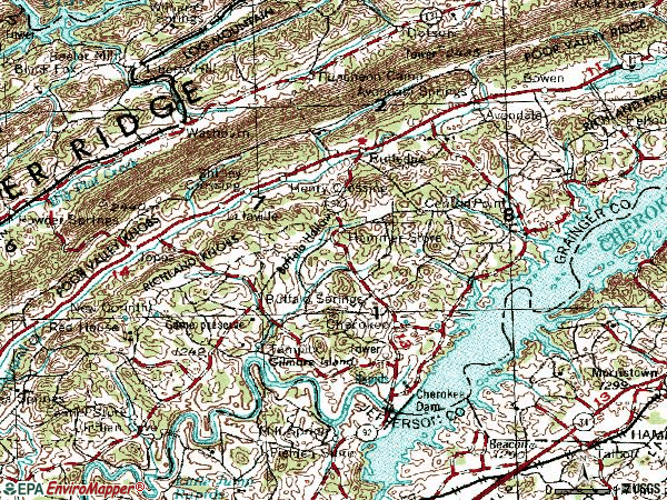 Zip code 37861 topographic map