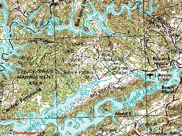 Zip code 37866 topographic map