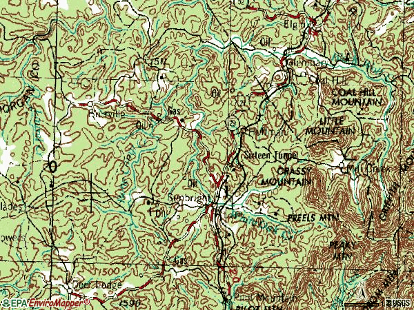 Zip code 37872 topographic map