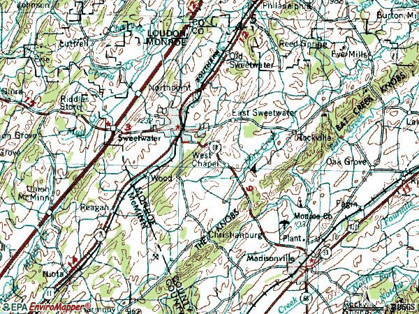 Zip code 37874 topographic map