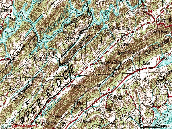 Zip code 37888 topographic map