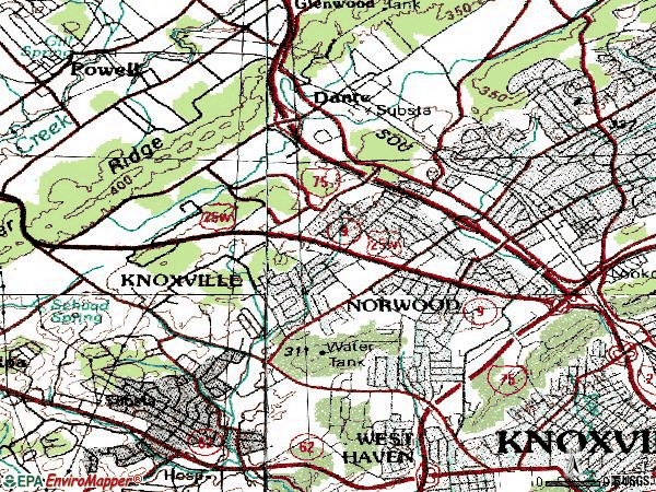 Zip code 37912 topographic map