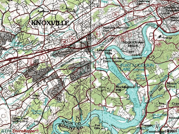Zip code 37919 topographic map