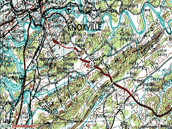 Zip code 37920 topographic map
