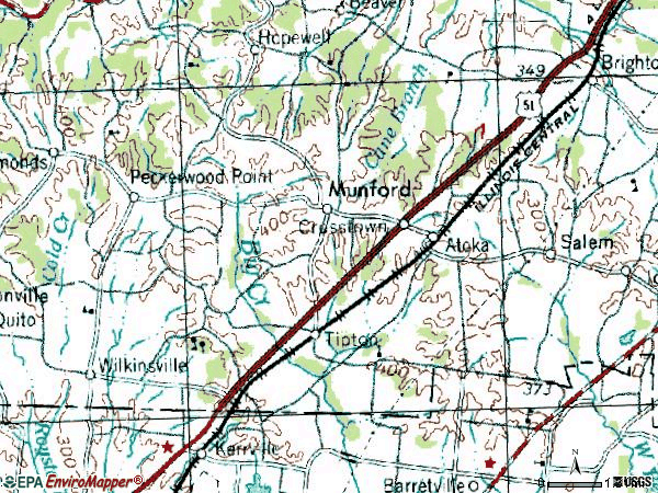 Zip code 38004 topographic map