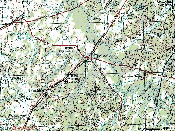 Zip code 38008 topographic map