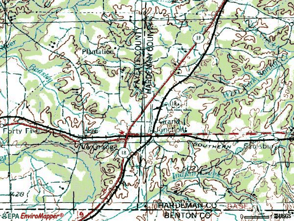 Zip code 38039 topographic map