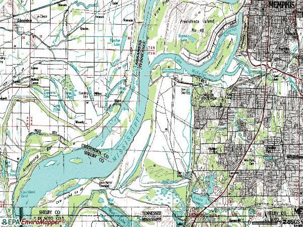 Zip code 38109 topographic map