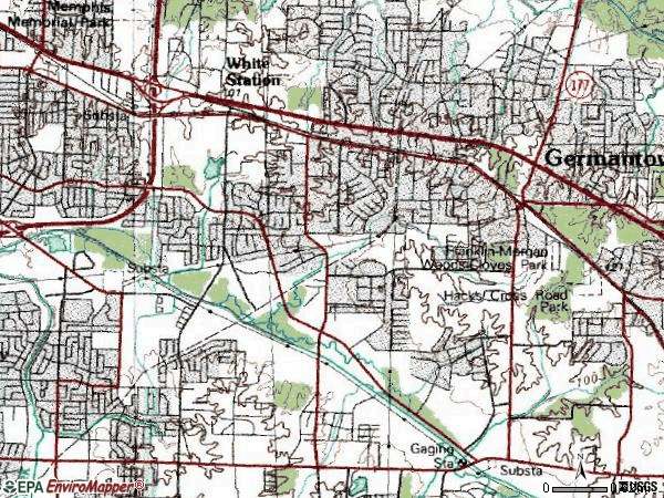 Zip code 38119 topographic map