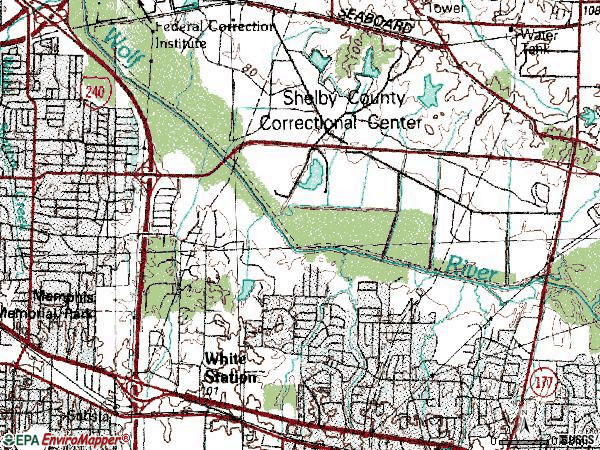 Zip code 38120 topographic map