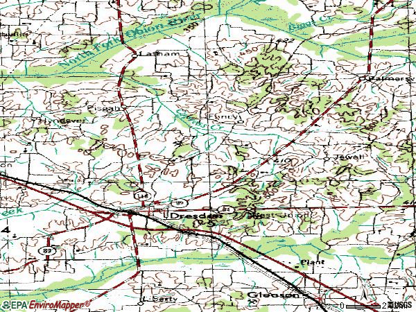 Zip code 38225 topographic map