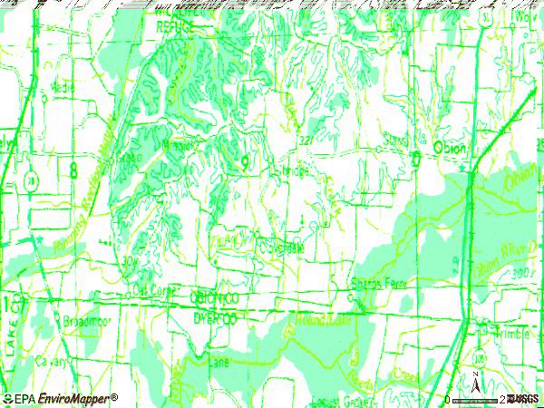 Zip code 38240 topographic map