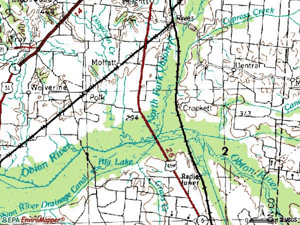 Zip code 38253 topographic map