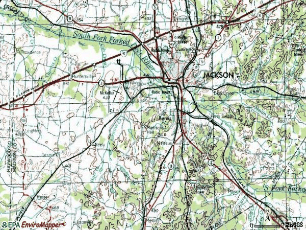 Zip code 38301 topographic map