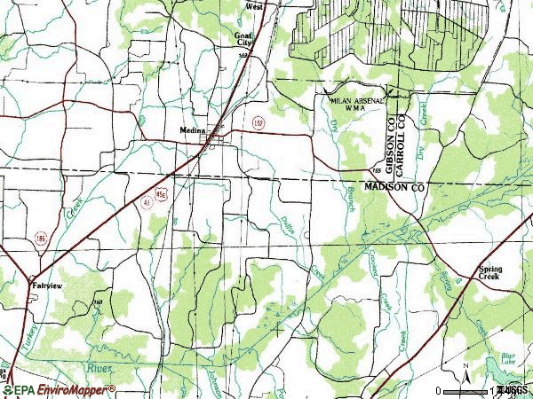 Zip code 38355 topographic map