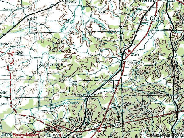 Zip code 38356 topographic map
