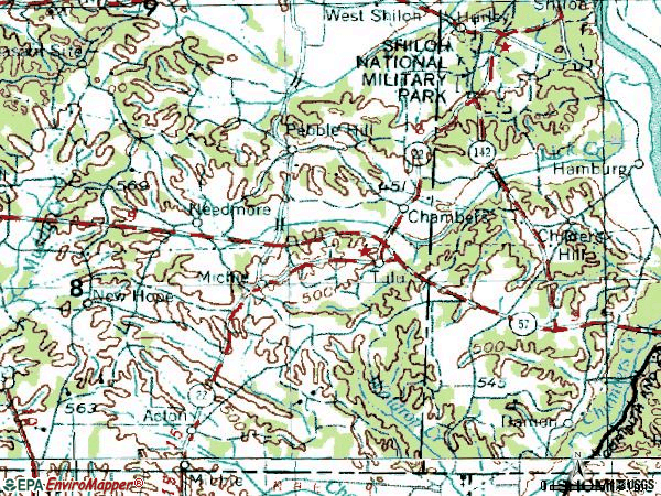 Zip code 38357 topographic map