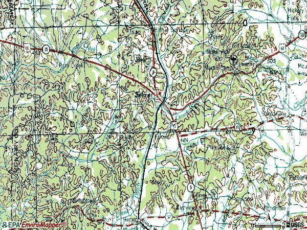 Zip code 38375 topographic map