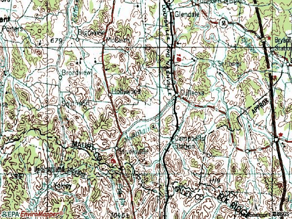 Zip code 38451 topographic map