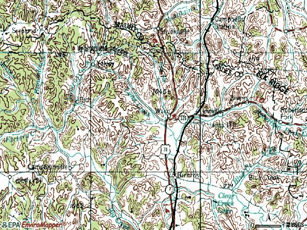Zip code 38472 topographic map