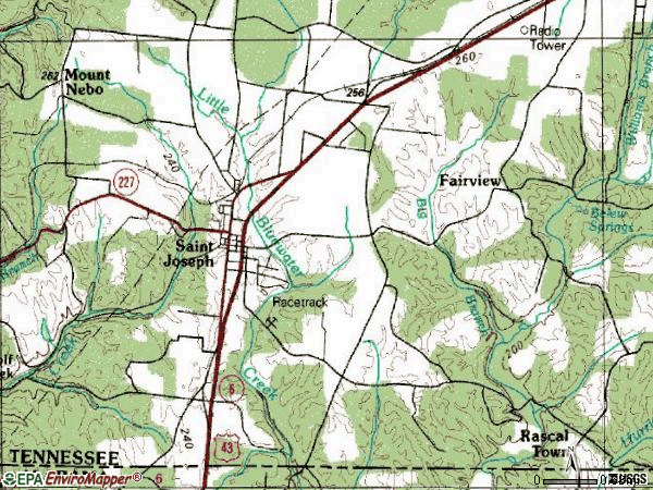 Zip code 38481 topographic map
