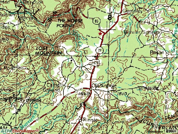 Zip code 38553 topographic map