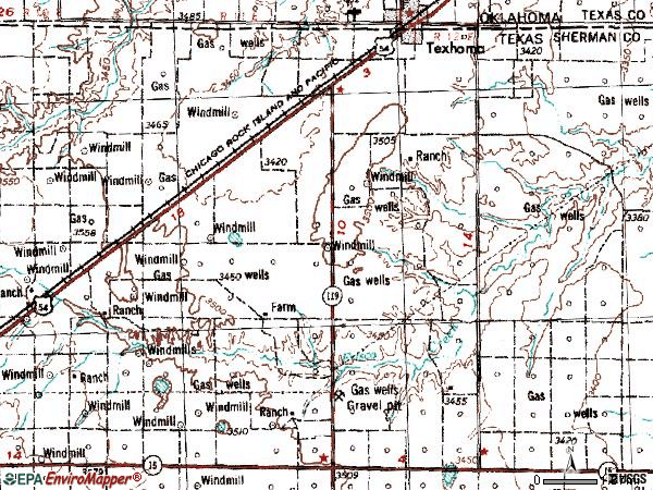 Zip code 73949 topographic map