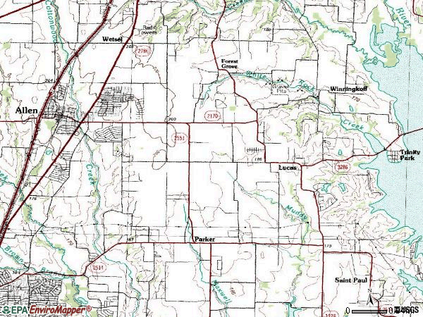 Zip code 75002 topographic map