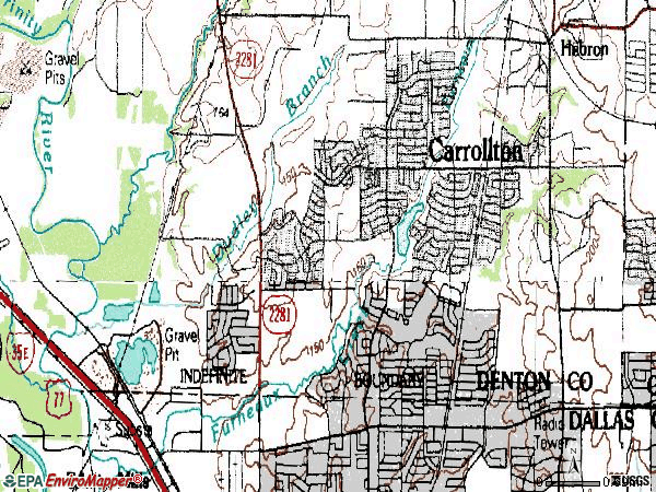 Zip code 75007 topographic map