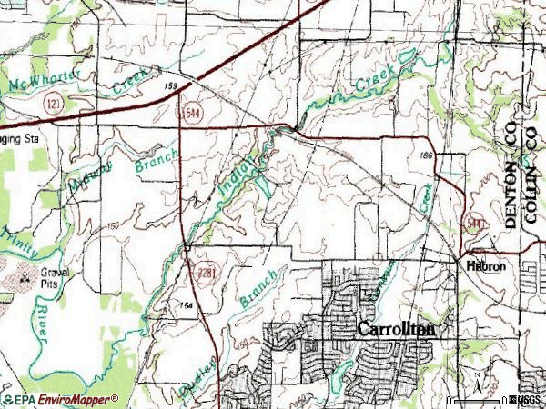 Zip code 75010 topographic map