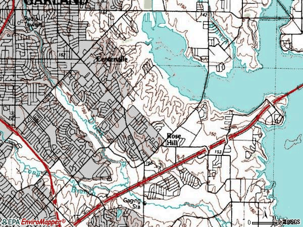 Zip code 75044 topographic map