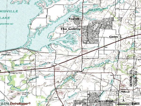 Zip code 75056 topographic map